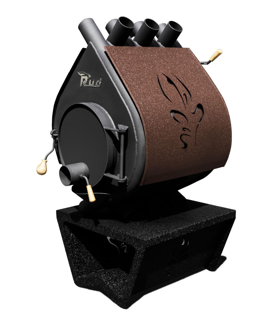 Печь Rud Pyrotron Кантри 01 (отапливаемая площадь 80 кв.м. х 2,5 м) без стекла, с обшивкой декоративной (коричневая)