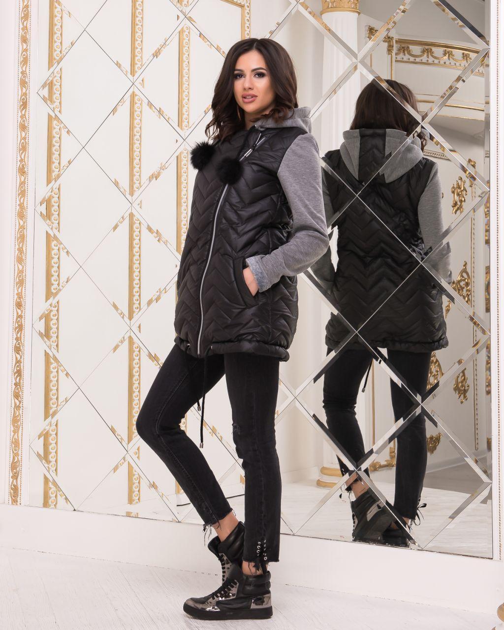 Куртка с трикотажными рукавами женская