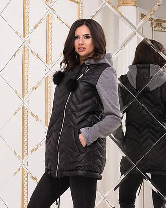 Куртка с трикотажными рукавами женская, фото 2