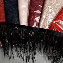 Перья на тесьме, ширина 15см, цвет черный/пудра/красный/сиреневый, 1уп=10м