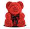 Мишка из роз с бантом, в подарочной коробке (большой 40 см) красный, фото 2