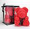 Мишка из роз с бантом, в подарочной коробке (большой 40 см) красный, фото 4