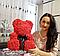 Мишка из роз с бантом, в подарочной коробке (большой 40 см) красный, фото 7