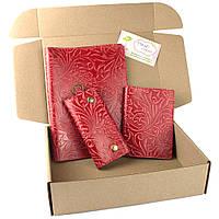 Подарочный набор №25: Обложка на ежедневник + обложка на паспорт + ключница (красный)