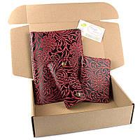 Подарочный набор №25: Обложка на ежедневник + обложка на паспорт + ключница (бордовый цветок))