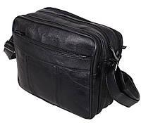Мужская кожаная сумка через плечо из кожи барсетка кожа 5 отделений 23х19см 8s2026 черная Польша