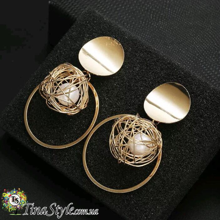 Серьги Монетки круги кольца золотистые длинные сережки Ретро большие абстракция жемчуг НОВИНКА