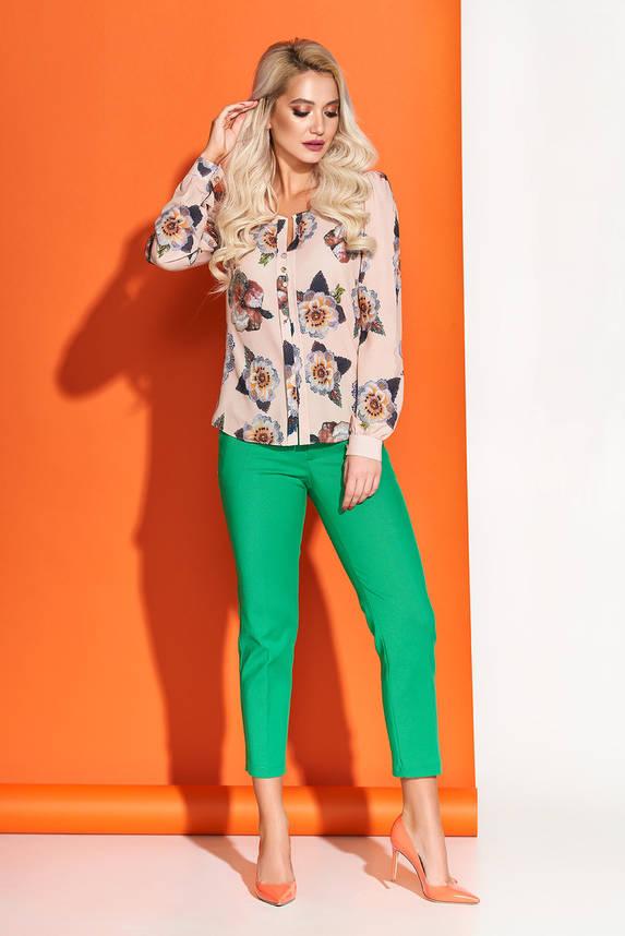 Модная блузка с принтом бежевая, фото 2