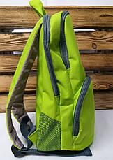 """Тканевой рюкзак салатового цвета с белыми полосками и дополнительным отделом спереди ТМ """"Wallaby"""", фото 3"""