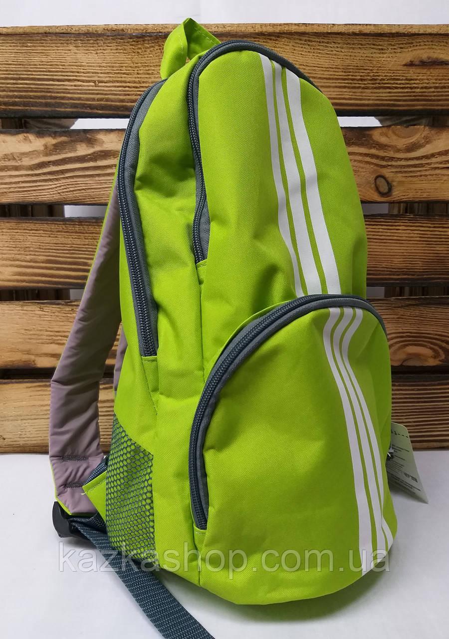 """Тканевой рюкзак салатового цвета с белыми полосками и дополнительным отделом спереди ТМ """"Wallaby"""""""