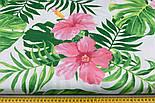 """Ткань хлопковая """"Большие розовые цветы и зелёные листья монстеры"""" на белом (№1945а), фото 2"""