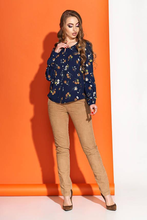 Красивая блузка с принтом синяя, фото 2