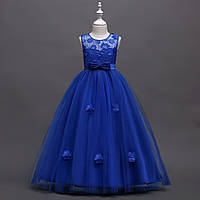 Нарядное длинное платье для девочки электрик р. 120 см