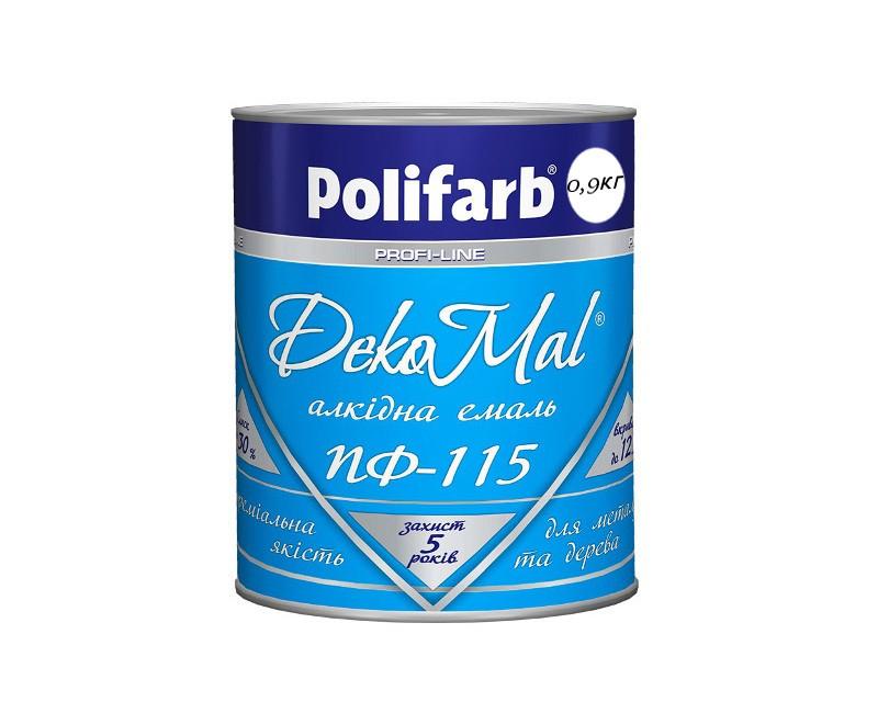 Эмаль алкидная POLIFARB ПФ-115 DEKOMAL универсальна, белая, 0,9кг