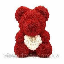 Мишка из роз с сердечком в подарочной коробке (большой 40 см) красный