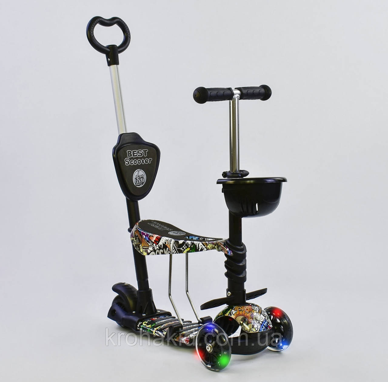 Самокат-беговел 5в1 Best Scooter с родительской ручкой, светящиеся колеса 43700