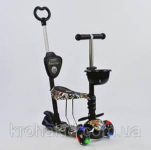 Самокат-беговел 5в1 Best Scooter с родительской ручкой, светящиеся колеса 43700, фото 2
