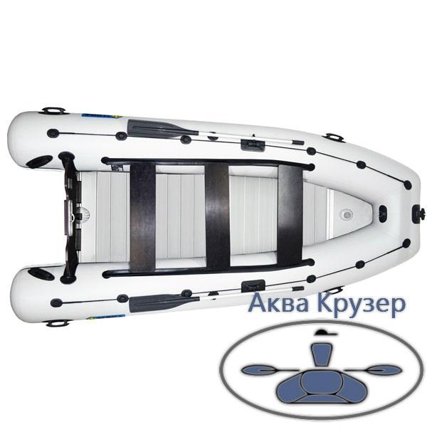 Надувна кільової човен ПВХ Омега Ω KU 400 LUX під мотор з жорстким настилом і надувним кілем