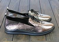 Кожаные женские лоферы серебристые, фото 1