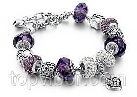 🔝 Браслет в стиле Pandora Пандора Сердце (реплика) - фиолетовый, копия Пандоры, с доставкой по Киеву и Украине | 🎁%🚚