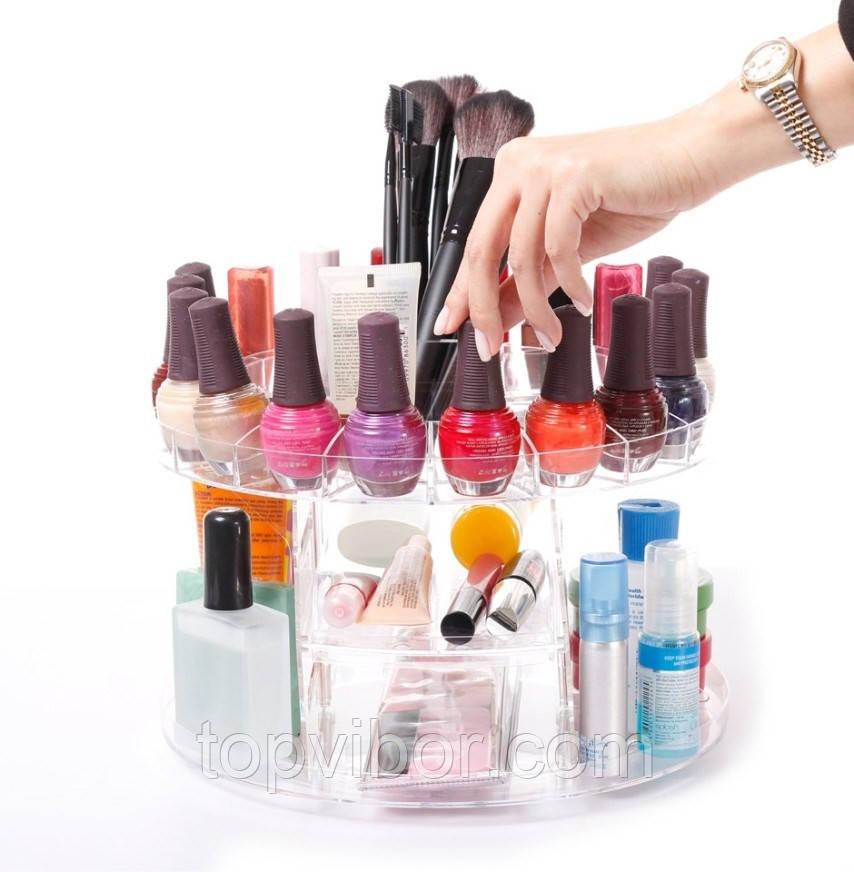 🔝 Органайзер для хранения косметики Glam Caddy Глем Кадди, пластмассовый, цвет - прозрачный    🎁%🚚