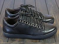 Мужские туфли спорт кожаные черные, фото 1
