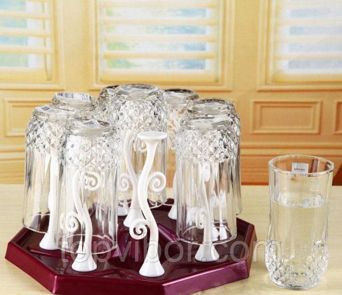 🔝 Подставка-сушилка для стаканов и чашек с держателями Kaiwen Cup Holder - бордовый | 🎁%🚚
