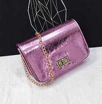 Голографическая сумка клатч с тиснением на цепочке, фото 3