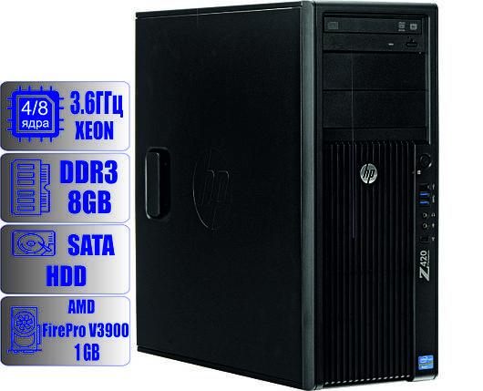 Рабочая станция HP z420 - Intel Xeon E5-1620 (4-ядра, 8-потоков)/8Gb DDR3-ECC/HDD-500gb/FirePro V3900, фото 2