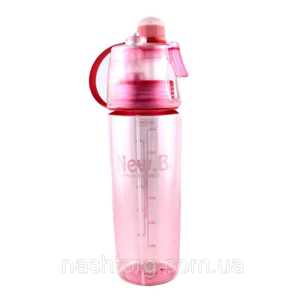 🔝 Спортивная бутылка для воды, велосипедная, New.B, с распылителем, 600 мл. - розовая | 🎁%🚚