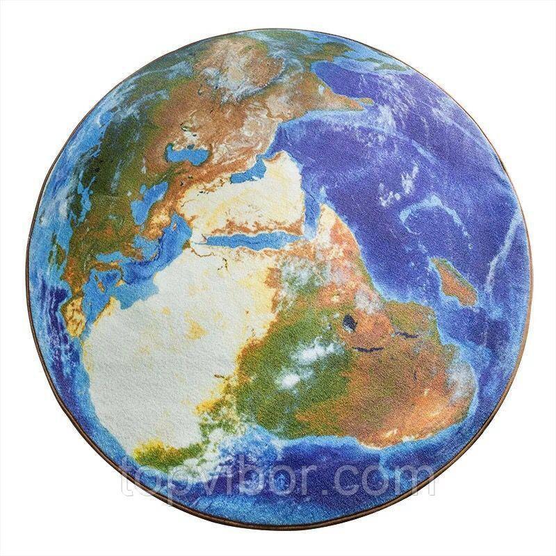 Ковер в детскую, круглый, безворсовый, 120 см. - Земля