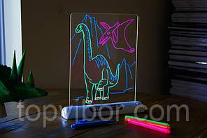 🔝 Доска для рисования маркером, серия - динозавры, 3d доска для рисования   🎁%🚚