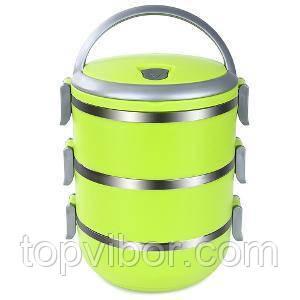 🔝 Термо ланч бокс из нержавеющей стали Lunchbox Three Layers пищевой тройной для еды Салатовый | 🎁%🚚