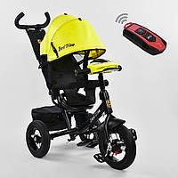 """Трехколесный детский велосипед""""Best Trike 7700 В""""цвет желтый пульт надувн колеса поворот сидение музыка свет"""