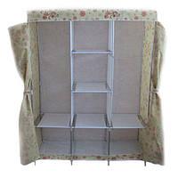 ✅ Тканевый шкаф, для одежды, Storage Wardrobe YQF130-14, шкаф чехол, цвет - бежевый с цветами, фото 1