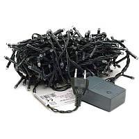 🔝 Гирлянда новогодняя на 300 лампочек LED, белая подсветка, чёрный кабель, с доставкой по Украине   🎁%🚚