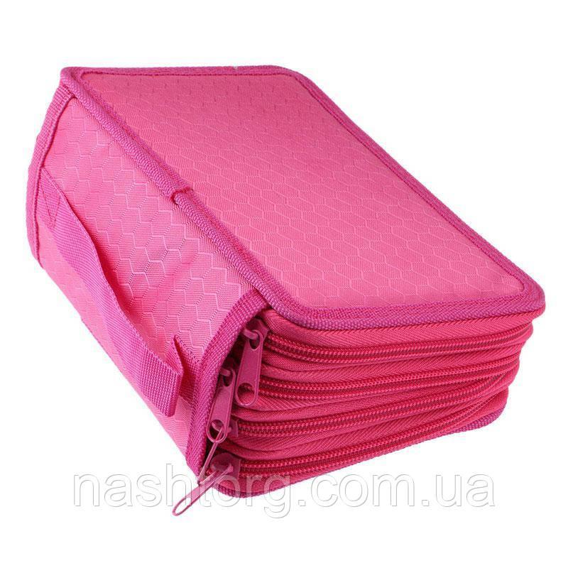 🔝 Тканевый пенал, на молнии, раскладной, для девочки, цвет - розовый   🎁%🚚