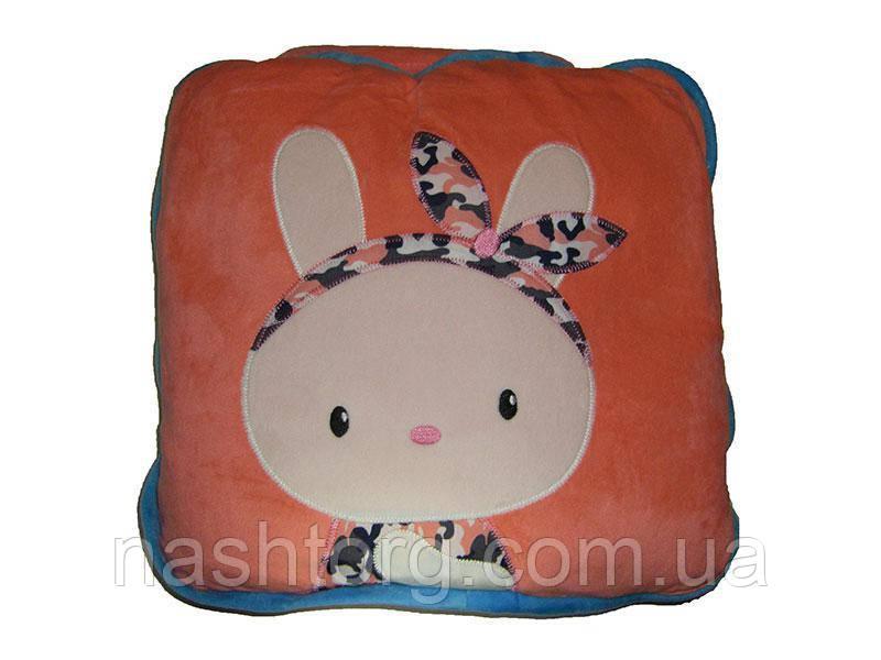 🔝 Детский плед, подушка, 3 в 1, розовый заяц   🎁%🚚