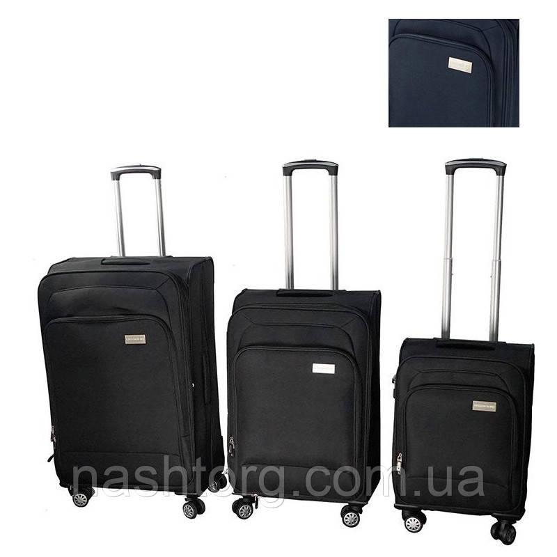 🔝 Набор чемоданов на колесах, LUGGAGE HQ, комплект, 3 шт., большой, багажный, маленький, цвет - синий | 🎁%🚚