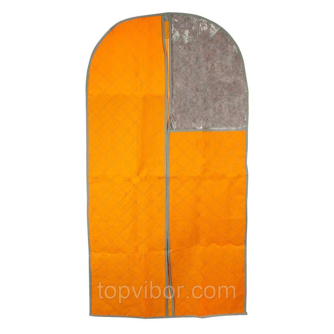 🔝 Подвесной чехол на молнии для хранения одежды 110x57 см. - оранжевый, с доставкой по Киеву и Украине | 🎁%🚚