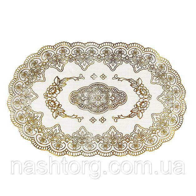 🔝 Овальная салфетка с золотым декором, для украшения стола | 🎁%🚚
