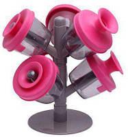 🔝 Баночки для специй, «Дерево трав и специй», 6 шт., емкости для приправ - розовый цвет | 🎁%🚚
