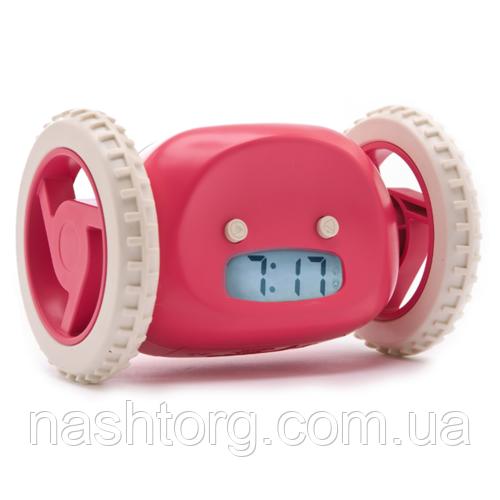 Убегающий будильник с часами Clocky, цвет - Розовый, с доставкой по Киеву и Украине