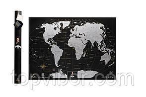 Скретч карта, My Map Black Edition, подарок для путешественников, Silver, ENG