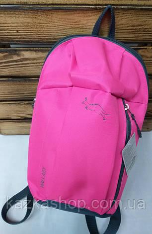 """Тканевой рюкзак розового цвета с серой фирменной вышивкой и дополнительным карманом спереди ТМ """"Wallaby"""", фото 2"""