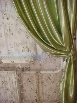 Шторы портьерные Шанзелизе оливковые 150*265= 2 шт, фото 2