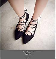 Женские туфли на шнуровке Colais Shoes черные.