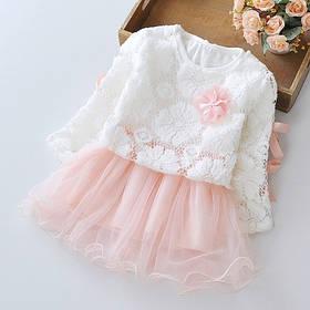 Нарядное платье двойка на девочку с ажурной кофтой  розовое 9 мес. -3 года