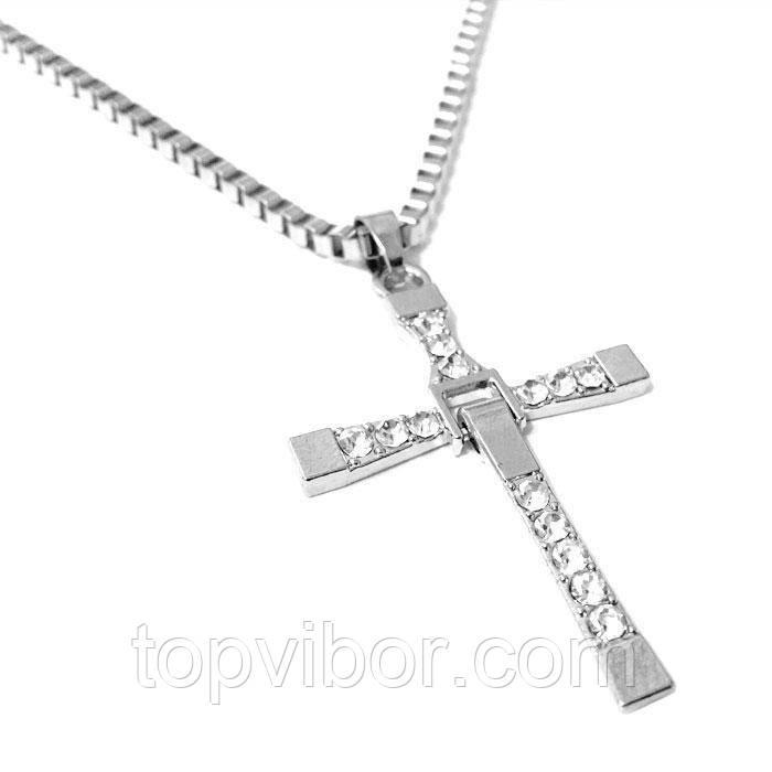 🔝 Крест Доминика Торетто с цепочкой, серебристый, бижутерия кулон с доставкой по Киеву и Украине | 🎁%🚚