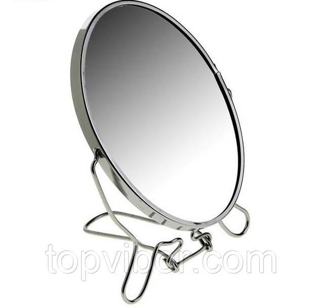 🔝 Двустороннее косметическое зеркало для макияжа на подставке Two-Side Mirror 19 см. | 🎁%🚚